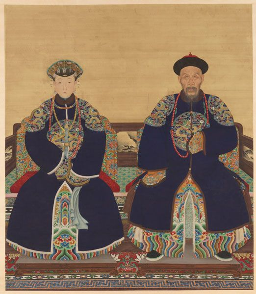 sackler-qing-court-gallery-full A hanging scroll painting depicts Yinti, Prince Xun (1688-1755) and his wife. Image courtesy of the Sackler Gallery of Art Read more: http://www.smithsonianmag.com/smithsonian-institution/men-of-chinas-qing-dynasty-chose-trophy-wives-to-flaunt-their-wealth-14862574/#kZFqbiETo0VYAJof.99 Give the gift of Smithsonian magazine for only $12! http://bit.ly/1cGUiGv Follow us: @SmithsonianMag on Twitter