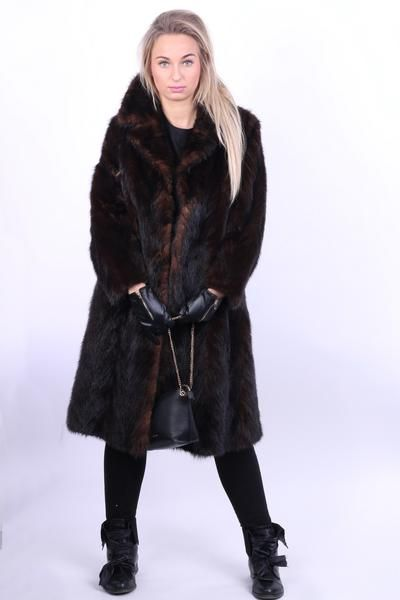 Womens S/M Coat Jacket Nutria Ladies Fur Winter Brown Long - RetrospectClothes
