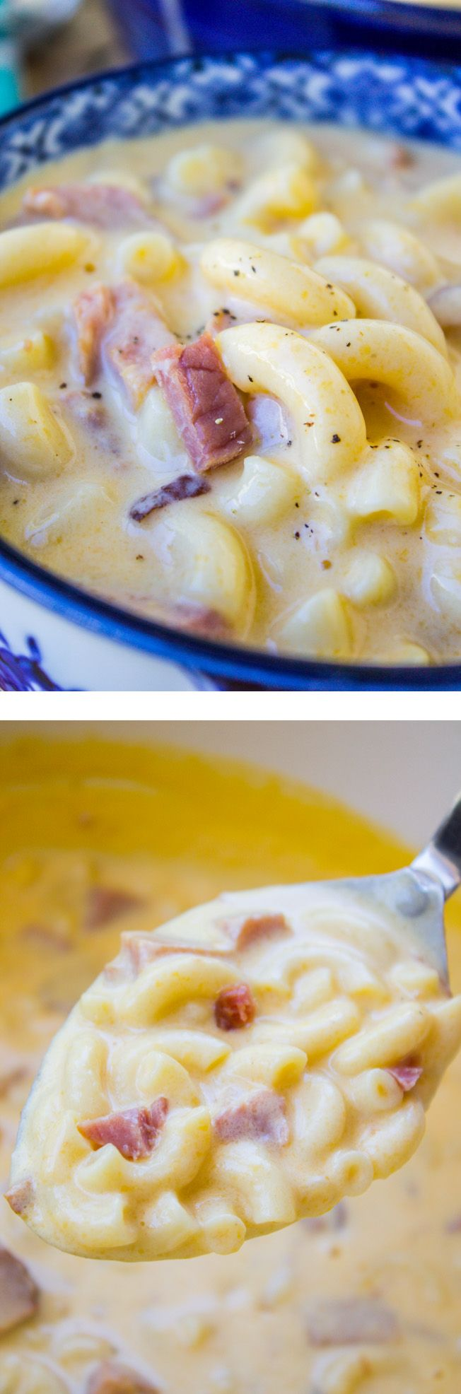 Ham Mac and Cheese Soup from The Food Charlatan // Easiest, most comforting soup ever! 30 minutes tops.