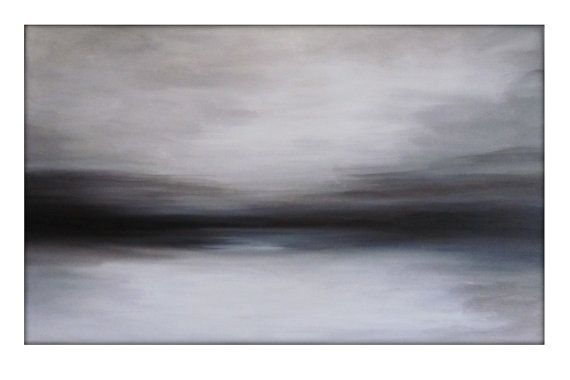 Minimalist Abstract Sky Line Landscape Original Painting - Browns, Whites, Black, and Grays    This is a previously sold painting - I will recreate a similar but one of a kind piece for you. Process: This painting has several layers of color - Browns, Whites, Black, and Grays. The middle horizon line is a dark black that fades in to deep chocolate browns and grays. Looks even more beautiful in person. Bold painting that is calming at the same time. Dimensions :30x48 profile of 1.5…