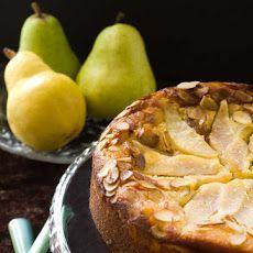 Gluten & Lactose Free Pear Almond Cake Recipe - almond meal, sliced almonds, pears, agave nectar (honey), oil, lemon juice, 8 large eggs, sliced almonds