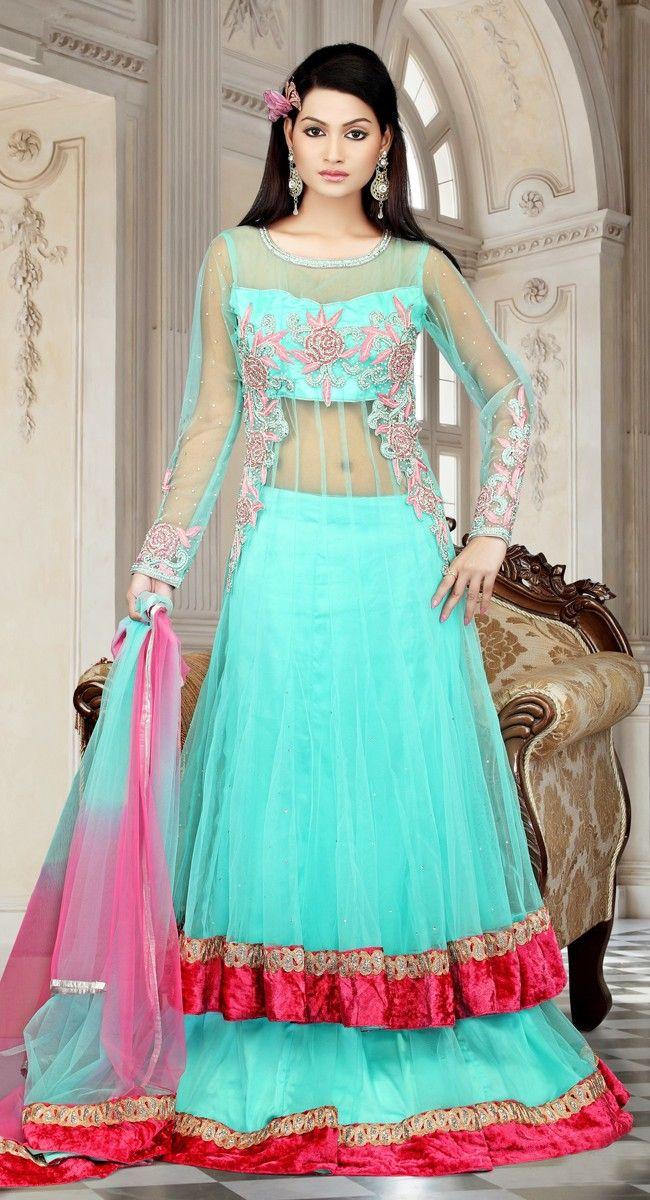 Indispensable Cyan Blue Net, Satin Lehenga #Choli