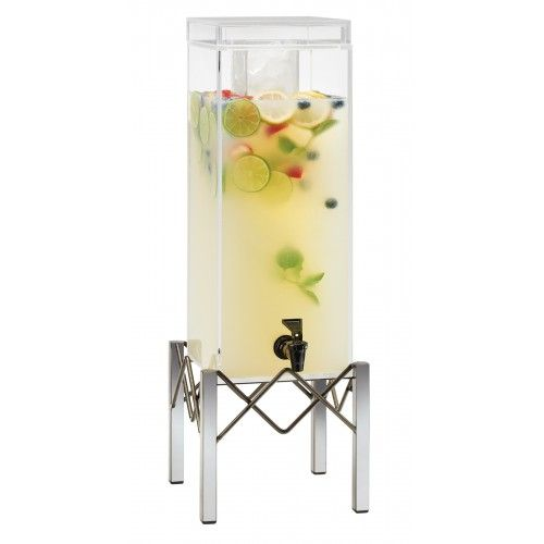 Industrial 3 Gallon Beverage Dispensers Item: 3436-3. Serve your beverages in style with this industrial, sleek, 3 gallon beverage dispenser. Available with either and ice chamber which keeps your drinks cold without diluting the beverage or an infusion chamber which can be used to infuse fresh fruit!