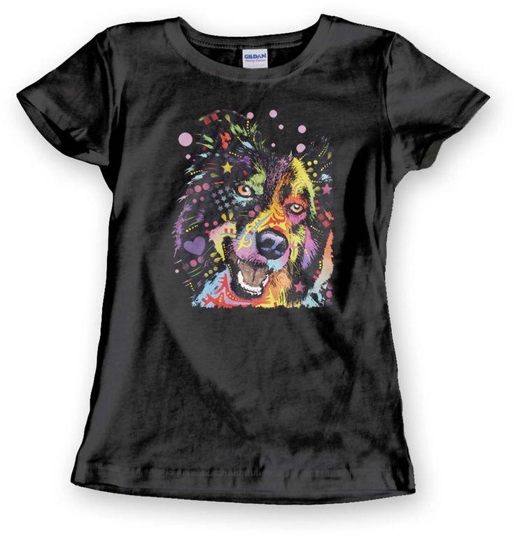 Border Collie T Shirt Neon Happy Dog Rainbow Womens Cute Top - Free Shipping #PitStopShirtShop #GraphicTee
