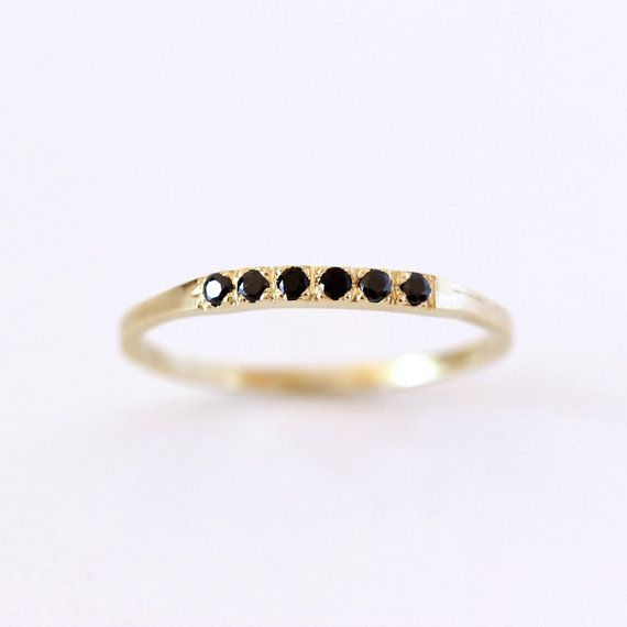 Pave Black Diamond Wedding Ring - Thin Diamond Band - 18K Solid Gold
