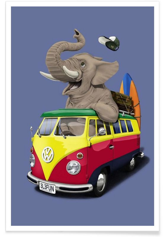 Pack the trunk (colored) - Rob Snow | Creative - Premium Poster art | decor | wall art | inspiration | animal | home decor | ideas | gift