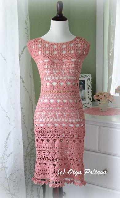 Crochet pink lace dress