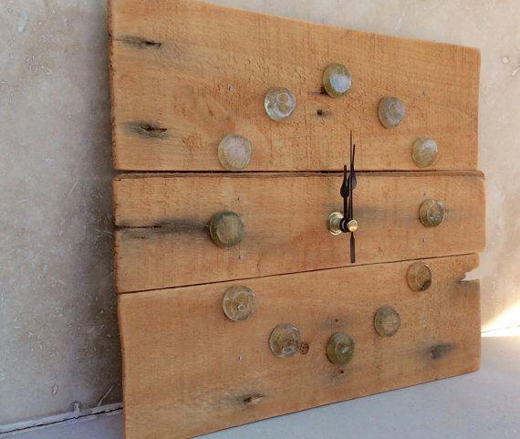 Recycled Pallet Wood Wall Clock In Pale Orange by kormendesigns