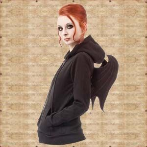 Everyone will notice you in this zip up hoodie with wings on the back. QoD is embroidered on the back and chest of this dragon hoodie. The Dragon Wing Hoodie by Queen of Darkness in the Skulls and Dragons clothing range.    Made from 65 percent Cotton, 35 percent Polyester    Ref : SDJA122711   Price : 49.99 GBP