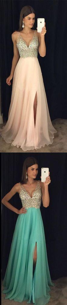 Champagne Chiffon A-Line Beaded, V-Neck Side Slit Long Prom Dress,42 from Happybridal