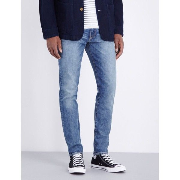 Levi's 512 slim-fit tapered jeans ($90) ❤ liked on Polyvore featuring men's fashion, men's clothing, men's jeans, mens tapered jeans, mens slim fit jeans, mens ripped jeans, mens leather jeans and levi mens jeans