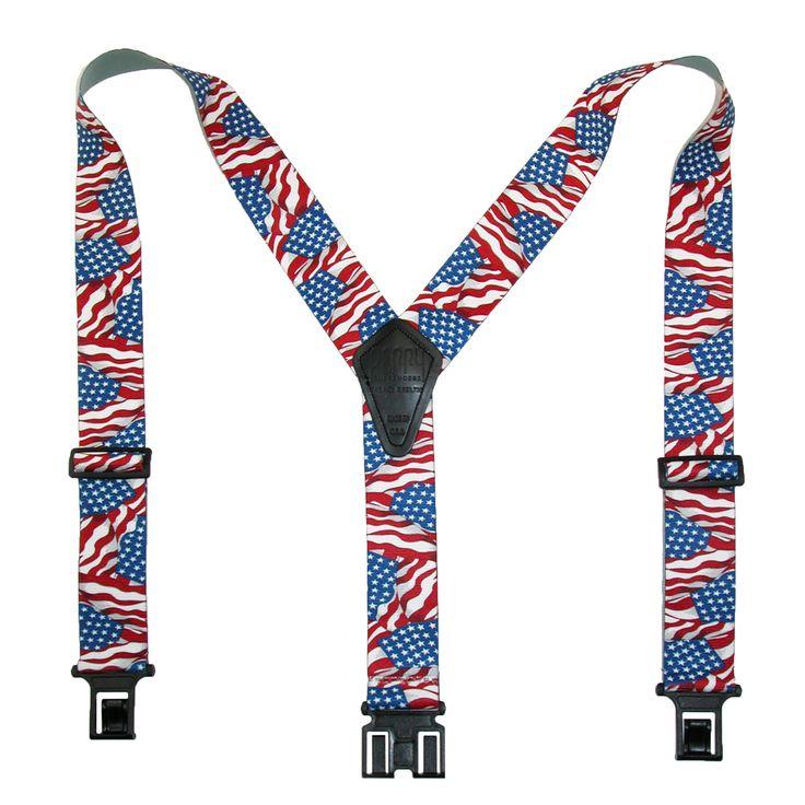 Perry Suspenders Men's Elastic Hook End American Flag Suspenders (Tall Available)