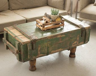 Artillery Ammo Ammunition Military Wooden Crate Box Coffee Table