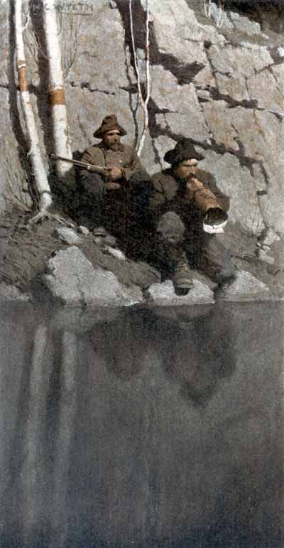 "N. C. Wyeth (1882 - 1945)  Scribner's, ""The Moose Hunter, The Midnight Call"" (1912)"