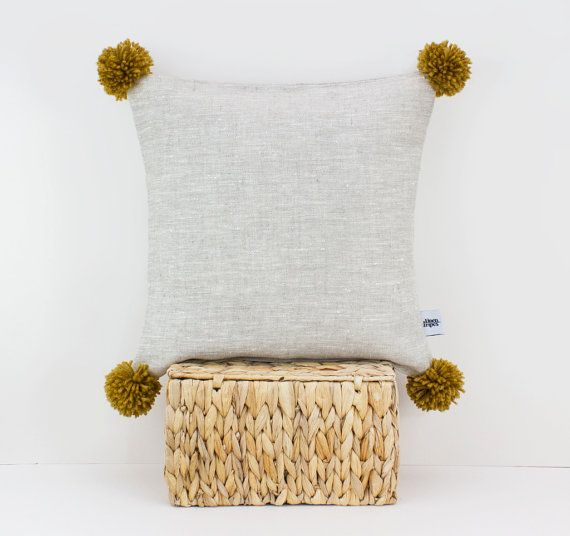 Pom pom cushion - Linen cushions - Mustard Yellow decor - Throw pillows - Linen pillow cover - Pillow shams - European pillow case