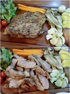 豚の肩ロース肉を使ってステーキを作ってみました  豚肉をステーキスパイスと塩コショウオリーブオイルで味付けし肉の表面を強火でカリッと焼くその後フライパンに蓋をし弱火で5分間置く  これで簡単ガーリックポークの出来上がりです   ただいま料理本夫もやせるおかず作りおきを参考に夫を約1ヵ月半で5キロのダイエットに成功  詳細はこちら  http://ift.tt/2nq3dbH