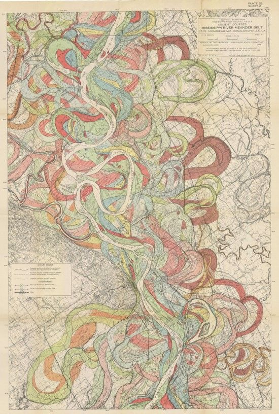 sarah:    radicalcartography is a treasure trove for anyone who's a fan of maps and infographics. The map above, part of a series of the ancient courses of the Mississippi, is beautiful - I would LOVE one of these for my walls.