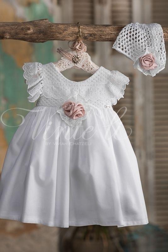 a9d92ab8a13 Βαπτιστικό φόρεμα Vinte Li 2718 με χειροποίητο σκουφάκι, annassecret,  Χειροποιητες μπομπονιερες γαμου, Χειροποιητες