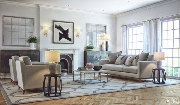 A family friendly living room with simple elements like cozy armchairs and a fireplace.