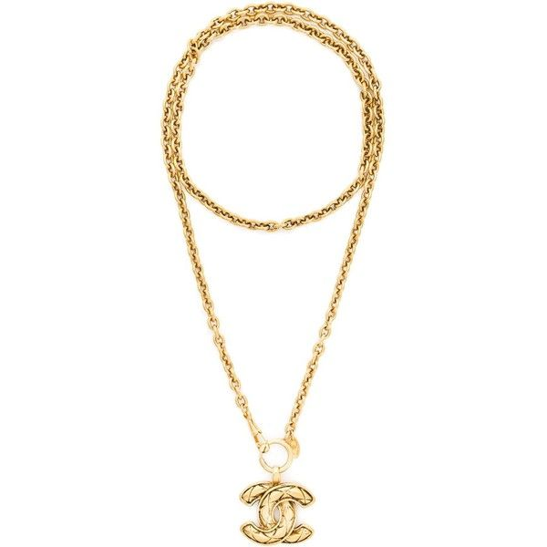 Chanel Vintage logo pendant necklace ($1,715) ❤ liked on Polyvore featuring jewelry, necklaces, vintage gold tone jewelry, vintage jewellery, vintage necklace, chanel pendant and nickel pendant