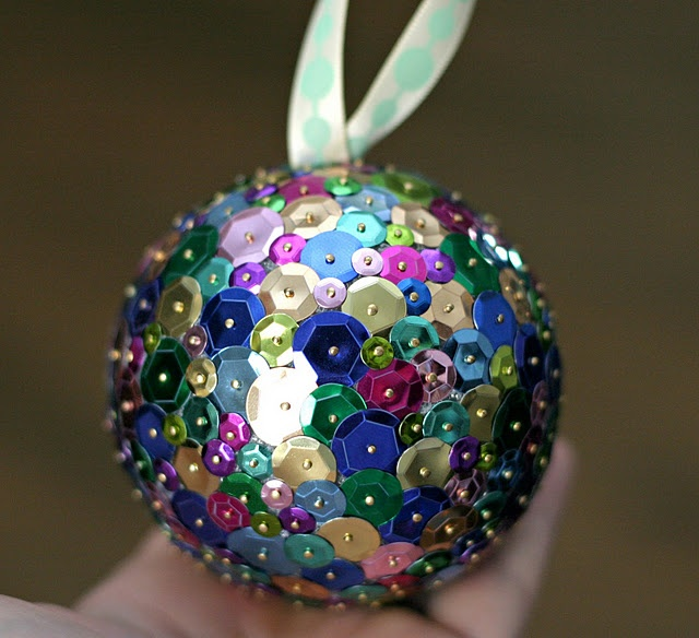 Sequined Ornament & Ornament Party Idea