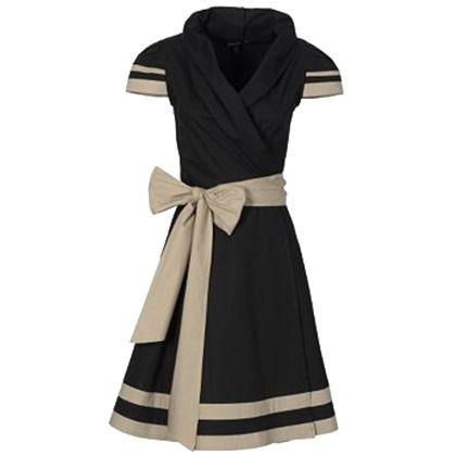 Stylishes Kleid von Apart in Schwarz. Das freche Kleid im Retrolook bekommt durch die Streifen und die große Schleife auch einen schönen Marine-Touch.