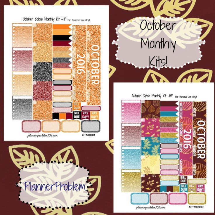 October Monthly Kits! | Free Printable Planner Stickers