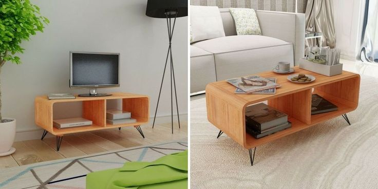 Wooden Tv Unit Cabinet Stand Media Center Storage Shelves Coffee Table Furniture