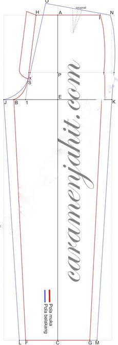 cara mengambil ukuran dan menggambar pola celana panjang pria dengan mudah dan cepat.