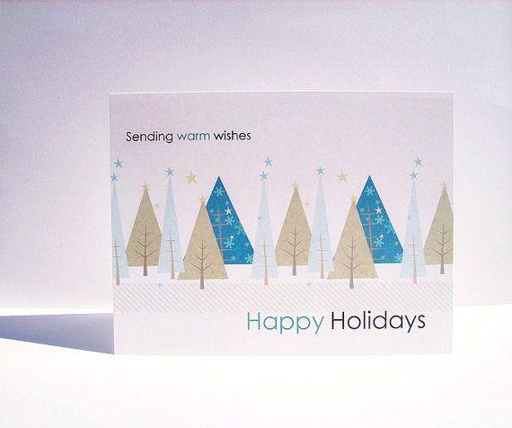 Arbres d'hiver Holiday Card Set - cartes de Noël, cartes, arbres de Noël moderne, Joyeuses Fêtes carte de voeux définie, Sarcelle d'hiver neige Sage bleu
