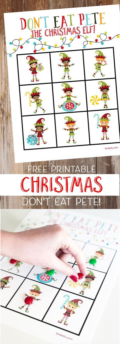 Looking for fun family Christmas games? Download and print out this darling Christmas version of Don't Eat Pete the Christmas Elf! The kids will love it! #christmasprintables #christmasgames #donteatpete