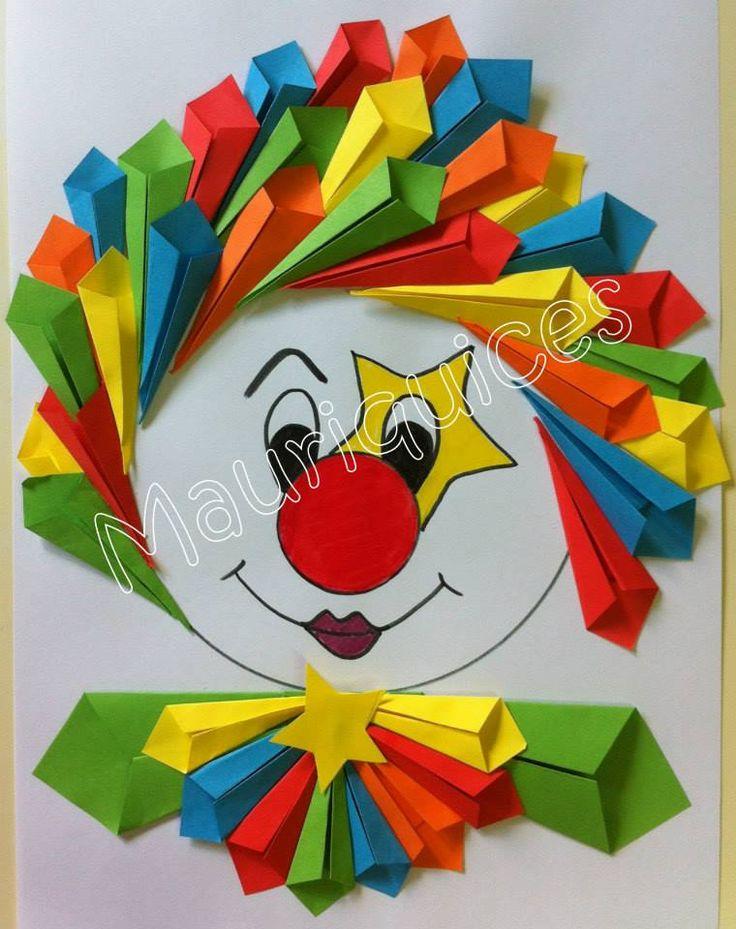 Clown met haren en kraag van vliegertjes gemaakt van kartonnen vierkantjes (klik door voor volledige uitleg).