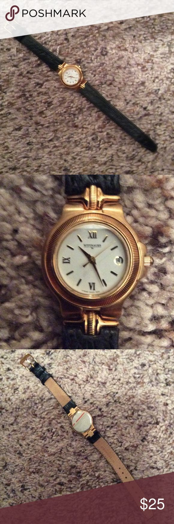 Wittnauer leather band watch - never worn Brown band with gold/white face and a second hand and date. Needs a battery though. Jewelry