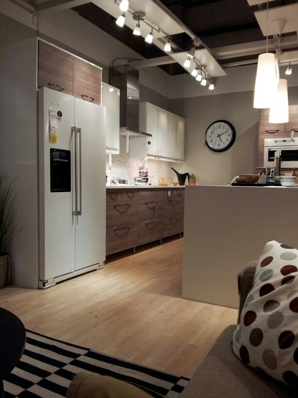 Ikea kitchen with white appliances