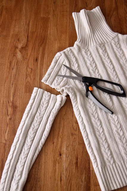 Old sweater?  How about a pillow cover? Boot cuffs?  All from one sweater