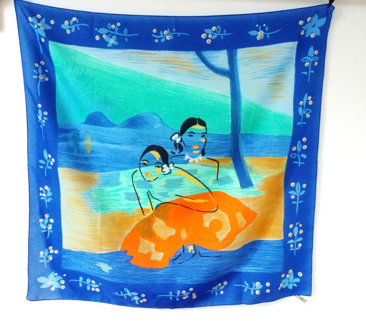 Vintage scarf, blue and aqua, female silhouettes, retro bandana, vintage kerchief, made in Italy, beach landscape, sand, island landscape. by LeVieuxGrenier on Etsy