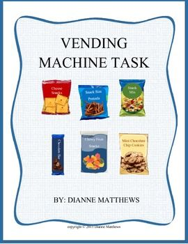 This is a fun life or vocational skill task. Students learn how a vending machine is used and also how to stock the machine. For higher learning levels, this task can help with keeping records of items purchased and correct purchase totals. This task is part of my Life Skill and Vocational Skill Bundle #1  This task includes five pages: Cover page, vending machine, snack items, currency and coin, and a directions and credit ...