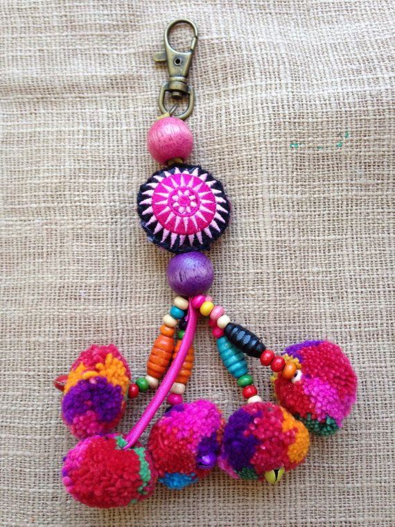 Whoelsale Hmong handmade fabric beaded pompom by KutchiKooTribe