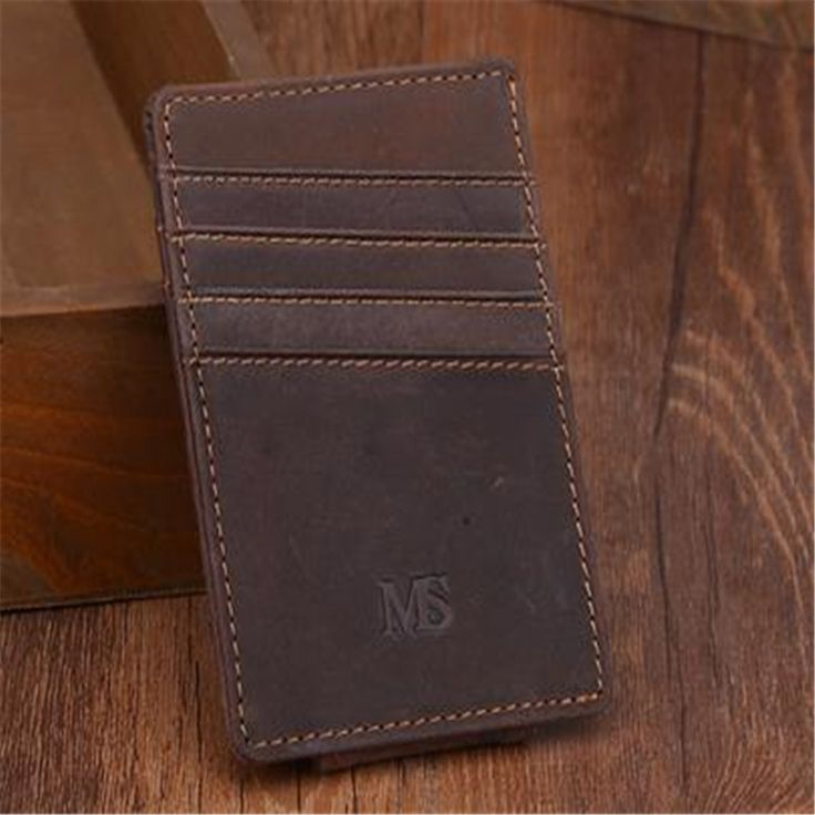 Men money clips vintage genuine leather front pocket clamp for money holder money clip wallet with card ID Case AMC281