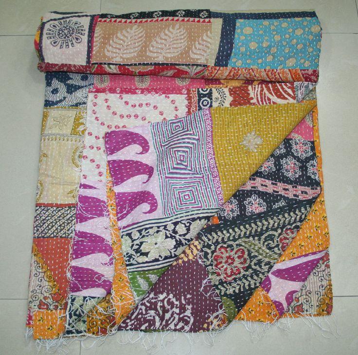 HANDMADE VINTAGE KANTHA BED COVER ETHNIC KANTHA QUILT KANTHA GUDRI COTTON   #Unbranded #ArtDecoStyle