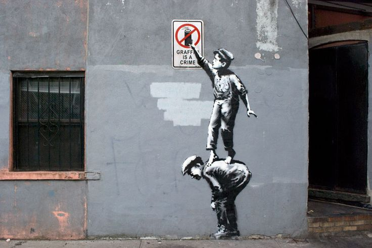 "1º de outubro | Nova York - Manhattan: ""The street is in play"", Banksy (""A rua está viva/operante"", Better out than in)"