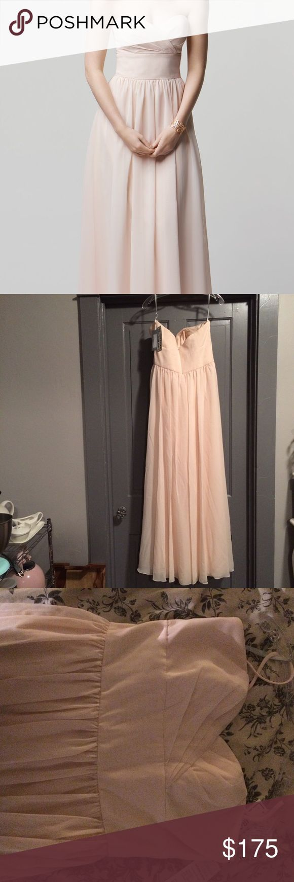 """NWT Wtoo Blush Chiffon Bridesmaid Prom Gown This is a stunning, blush pink chiffon Bridesmaid dress NEW WITH TAGS NEVER WORN and UNALTERED!! This is a """"bridal"""" 14 so fits like a 10-14 depending on your bust measurement. This gown is perfect for a summer wedding, black tie event, or prom. I originally paid $300 at the local bridal boutique so if you're a Bridesmaid on a budget this is a great steal! Any questions or for more pictures please let me know! 🌷 Wtoo Dresses Wedding"""