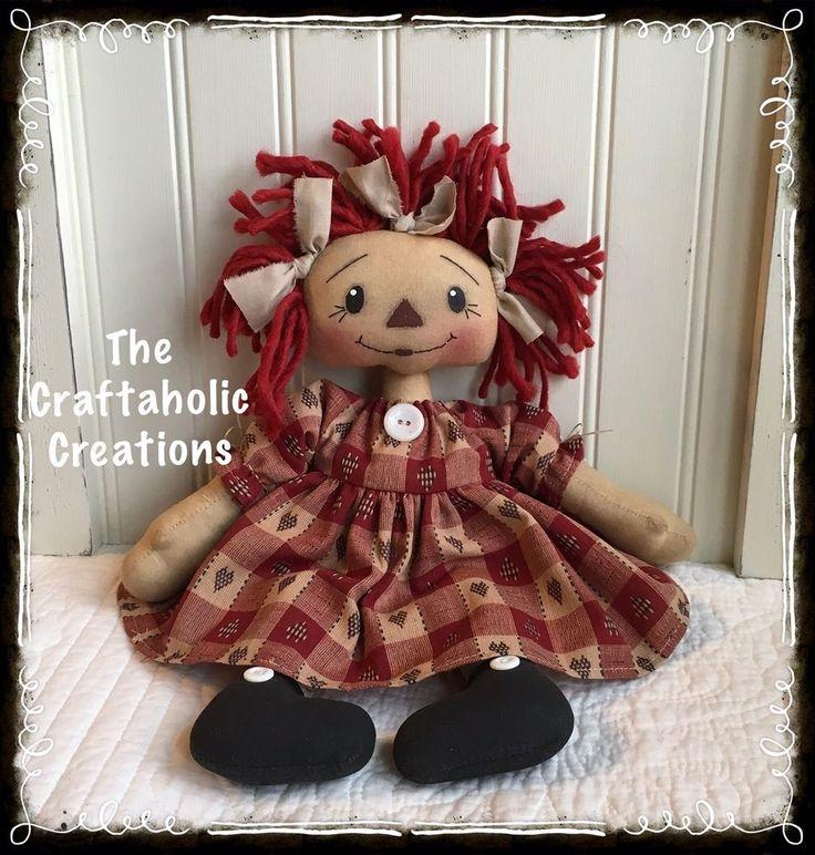 * Primtive RAGGEDY ANN doll ragdoll ~ANNIE ~ heart homespun DRESS * Custom TAG #NaivePrimitive