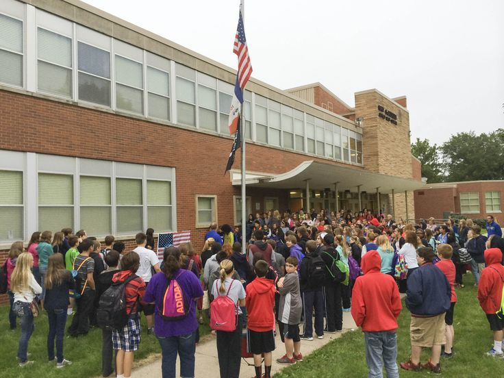 Goodrell Middle School students met at the flag pole before school started to take part in a 9/11 memorial ceremony. Flags across the district remain at half staff today and many classrooms will discuss the tragic events of 2001 in an age-appropriate way. Our high school seniors were starting preschool when 9/11 occurred.