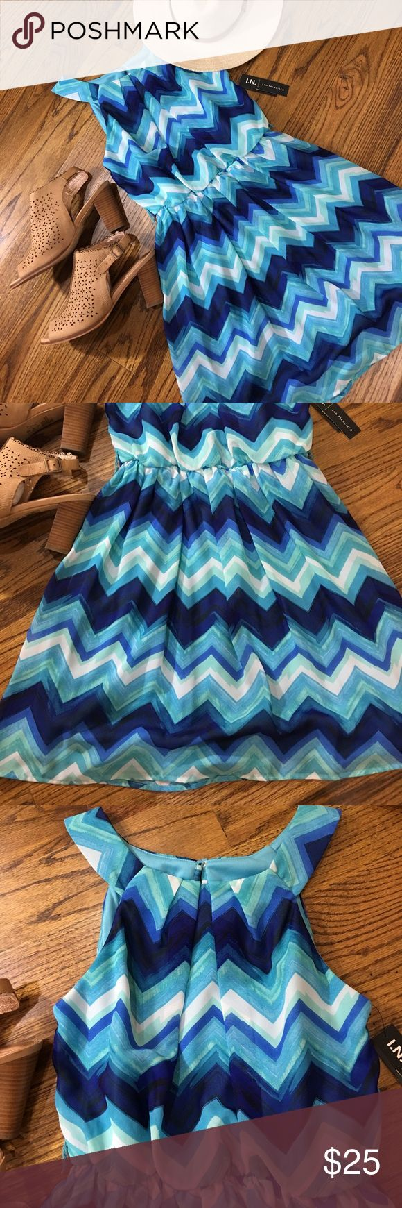 NWT BLUE CHEVRON DRESS SM Brand new blue Chevron dress. Elastic waist. No belt. I.N SAN FRANCISCO Dresses