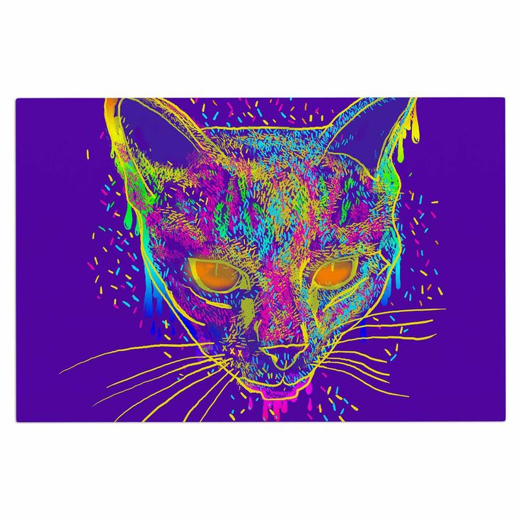 "Frederic Levy-Hadida ""Candy Cat Purple"" Rainbow Purple Decorative Door Mat"