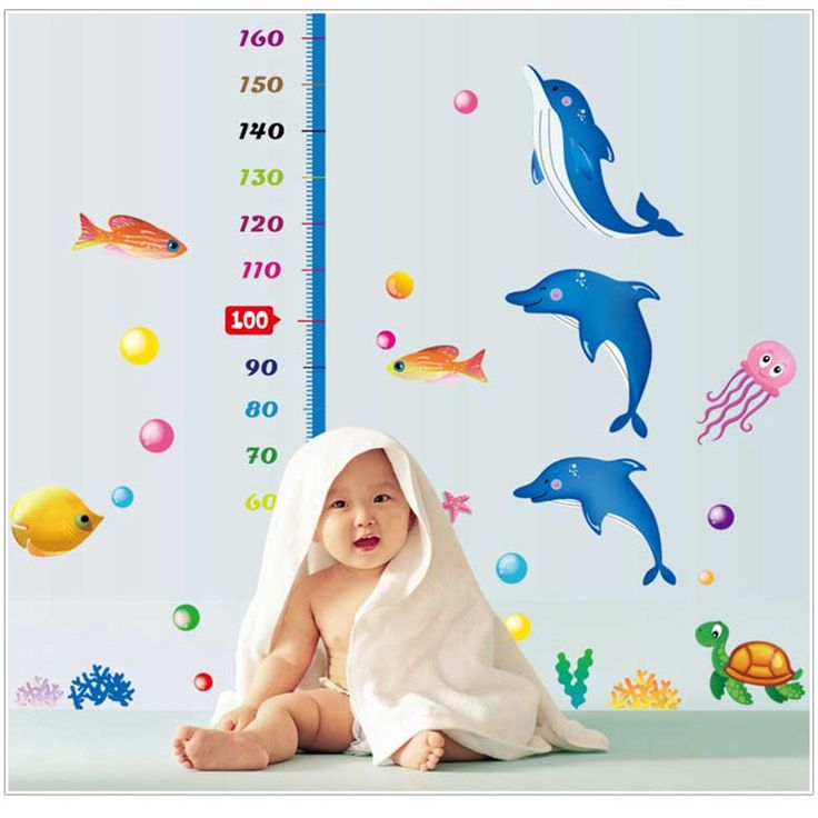 Art Decals Warm Child Room Kids Height Measure Dolphin Wall Poster Size 170 x 145 Cm Nursery Wall Stickers