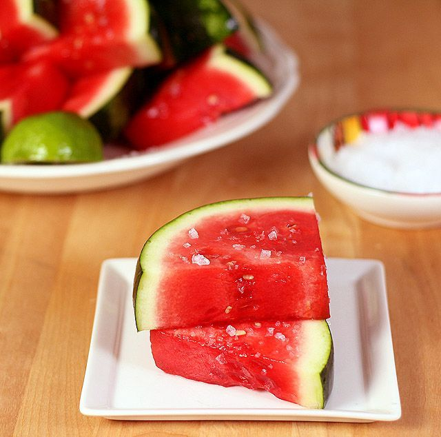 Margarita Watermelon - Watermelon is bathed in a tequila syrup and spritzed with lime juice.