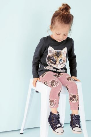 Buy Pink Cat Printed Leggings (3mths-6yrs) online today at Next: United States of America