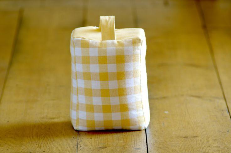 Door Stop in Primrose Yellow Check Cotton Fabric